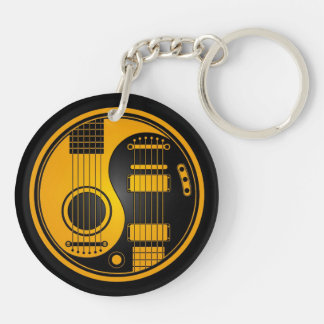 Yellow and Black Acoustic Electric Guitars Yin Yan Double-Sided Round Acrylic Keychain