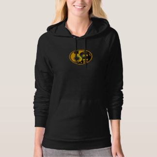 Yellow and Black Acoustic Electric Guitars Yin Yan Hoodie