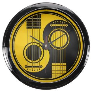 Yellow and Black Acoustic Guitars Yin Yang Aquarium Clock