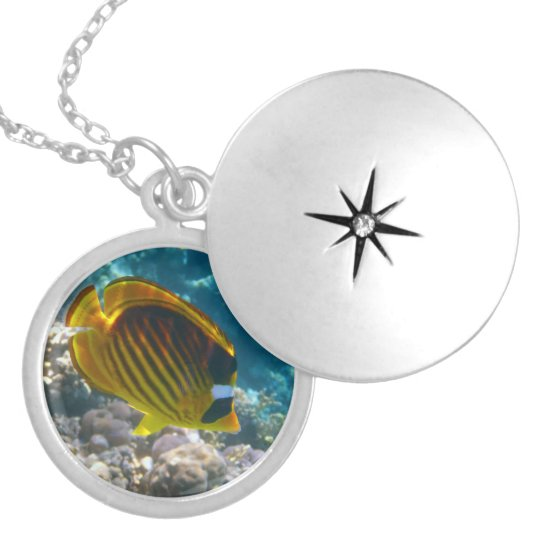 Yellow and Black Angel Fish Locket Necklace