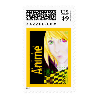 Yellow and Black Anime Boy Skater Postage Stamps