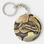 Yellow and Black Ball Python 3 Basic Round Button Keychain