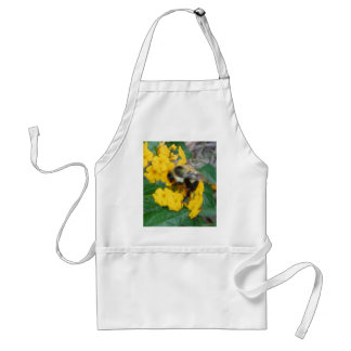 yellow and black Bee on yellow flower Adult Apron