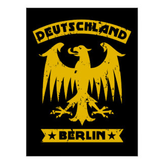Yellow and Black Berlin Deutschland German Eagle Poster
