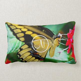 Yellow and black butterfly photo custom monogram lumbar pillow