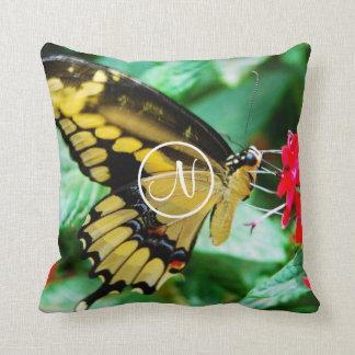 Yellow and black butterfly photo custom monogram throw pillow
