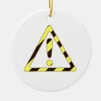Yellow and Black Caution Sign Triangle Exclamation Double-Sided Ceramic Round Christmas Ornament