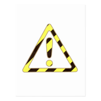 Yellow and Black Caution Sign Triangle Exclamation Postcard
