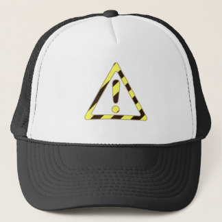 Yellow and Black Caution Sign Triangle Exclamation Trucker Hat