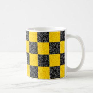 Yellow and Black Checker Classic White Coffee Mug