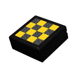 Yellow and Black Checker Keepsake Box