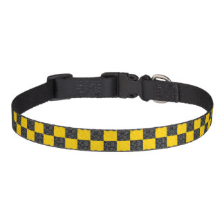 Yellow and Black Checker Pet Collar