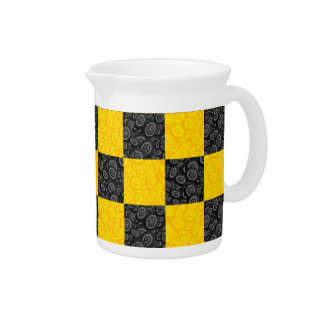 Yellow and Black Checker Pitcher