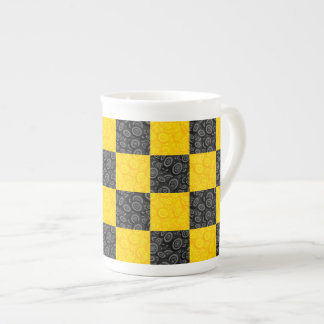Yellow and Black Checker Tea Cup