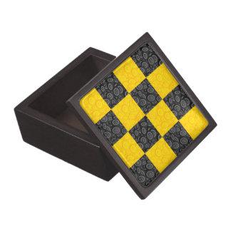 Yellow and Black Checkerboard Jewelry Box