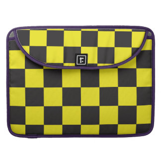 Yellow and Black Checkers MacBook Pro Sleeves