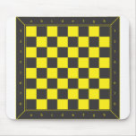 Yellow and Black Chess Table Mouse Pad