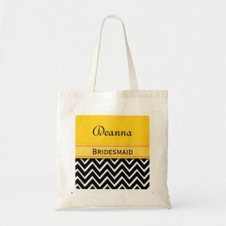 Yellow and Black Chevron Bridesmaid A06 Tote Bag