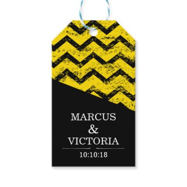 Wedding Themed Yellow and black Chevron Distressed Wedding Gift Tags