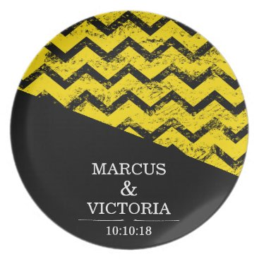 Wedding Themed Yellow and black Chevron Distressed Wedding Melamine Plate