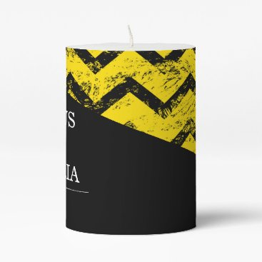 Wedding Themed Yellow and black Chevron Distressed Wedding Pillar Candle