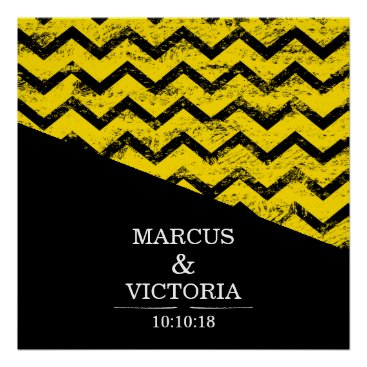 Wedding Themed Yellow and black Chevron Distressed Wedding Poster