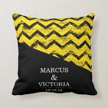 Wedding Themed Yellow and black Chevron Distressed Wedding Throw Pillow