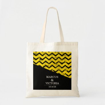 Wedding Themed Yellow and black Chevron Distressed Wedding Tote Bag