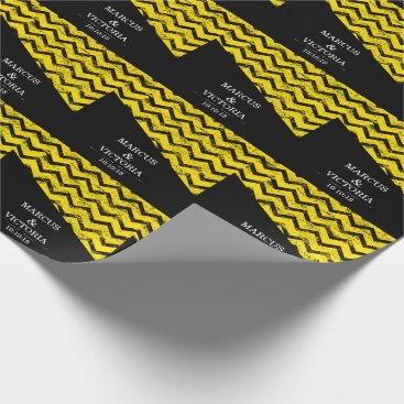 Wedding Themed Yellow and black Chevron Distressed Wedding Wrapping Paper