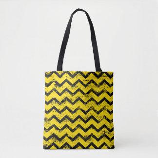 Yellow and Black Chevron Pattern Tote Bag