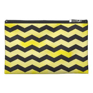 Yellow and Black Chevron Zipper Bag