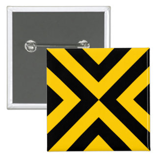 Yellow and Black Chevrons 2 Inch Square Button