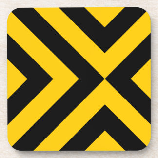 Yellow and Black Chevrons Beverage Coaster