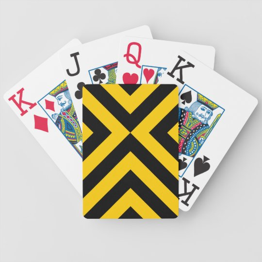Yellow and Black Chevrons Bicycle Playing Cards