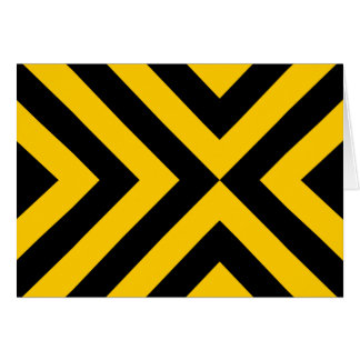 Yellow and Black Chevrons Greeting Cards