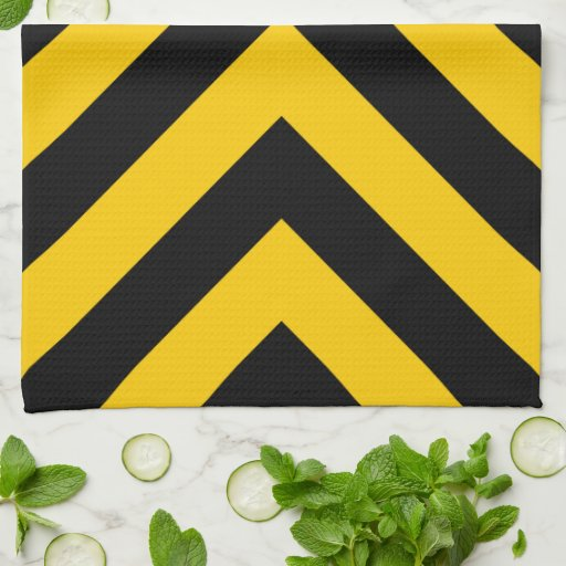 Yellow and Black Chevrons Hand Towels