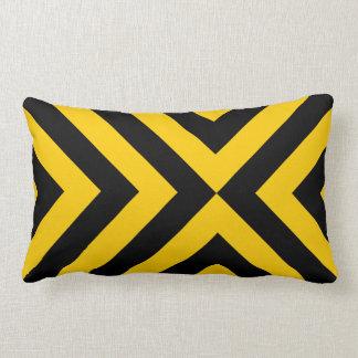 Yellow and Black Chevrons Lumbar Pillow