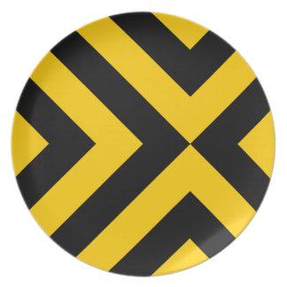 Yellow and Black Chevrons Melamine Plate