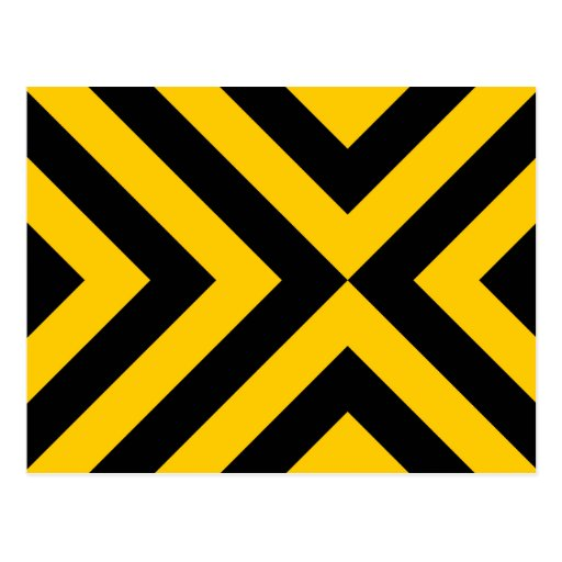 Yellow and Black Chevrons Postcard