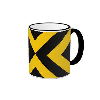 Yellow and Black Chevrons Ringer Mug