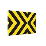 Yellow and Black Chevrons Stretched Canvas Print