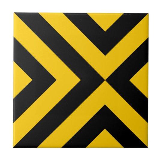 Yellow and Black Chevrons Tile