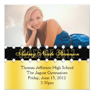 Yellow and Black Chic Diamond Graduation Invite
