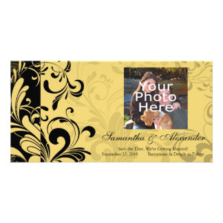 Yellow and Black Contemporary Swirl Card