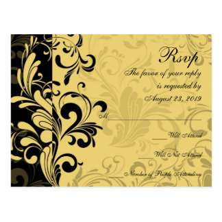 Yellow and Black Contemporary Swirl RSVP Reply Postcard