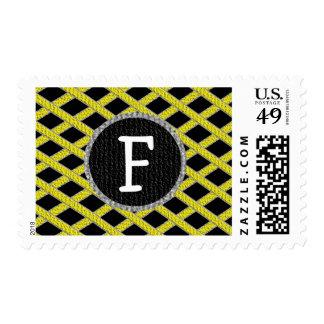 Yellow and black crisscross monogram stamps