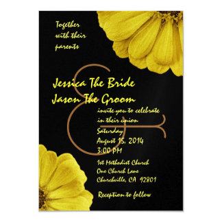 Yellow and Black Daisies Wedding Template Announcements