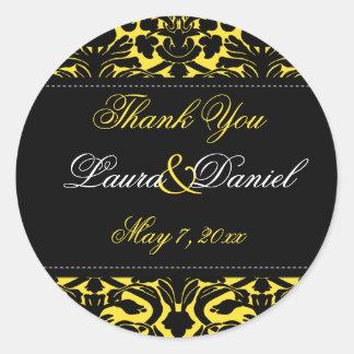 "Yellow and Black Damask 1.5"" Thank You Sticker"