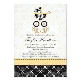 YELLOW AND BLACK DAMASK BABY CARRIAGE BABY SHOWER CARD
