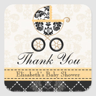 YELLOW and Black Damask Baby Carriage Thank You Square Sticker